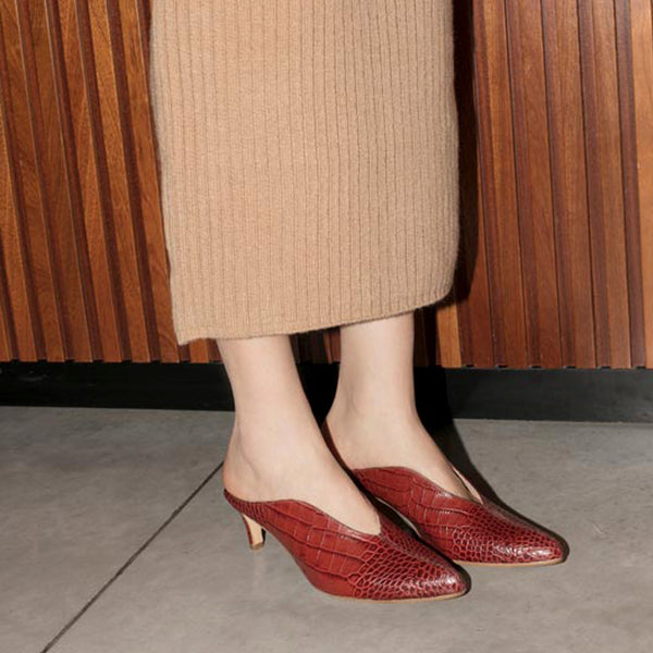 BILLIE MULES Bordeaux croc