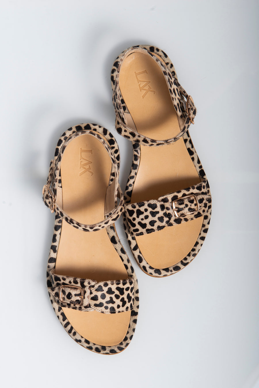 Leopard printed pony leather Sandals