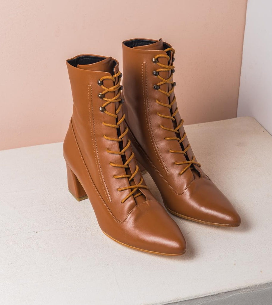 LORD lace up boots Camel - house-of-lax