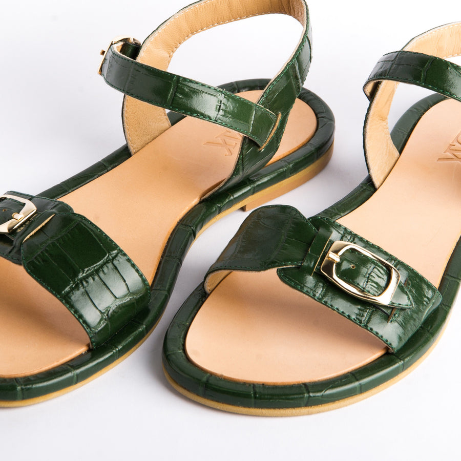 PARDES SUN-dals Forest green croc leather