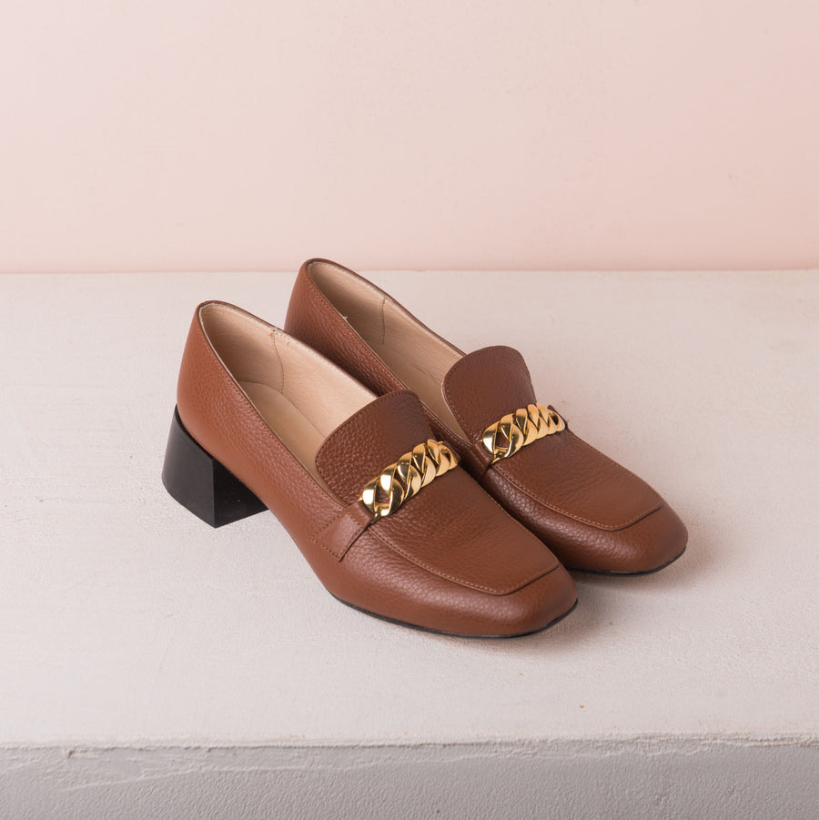 FRANCIS Gold chain loafers Brown