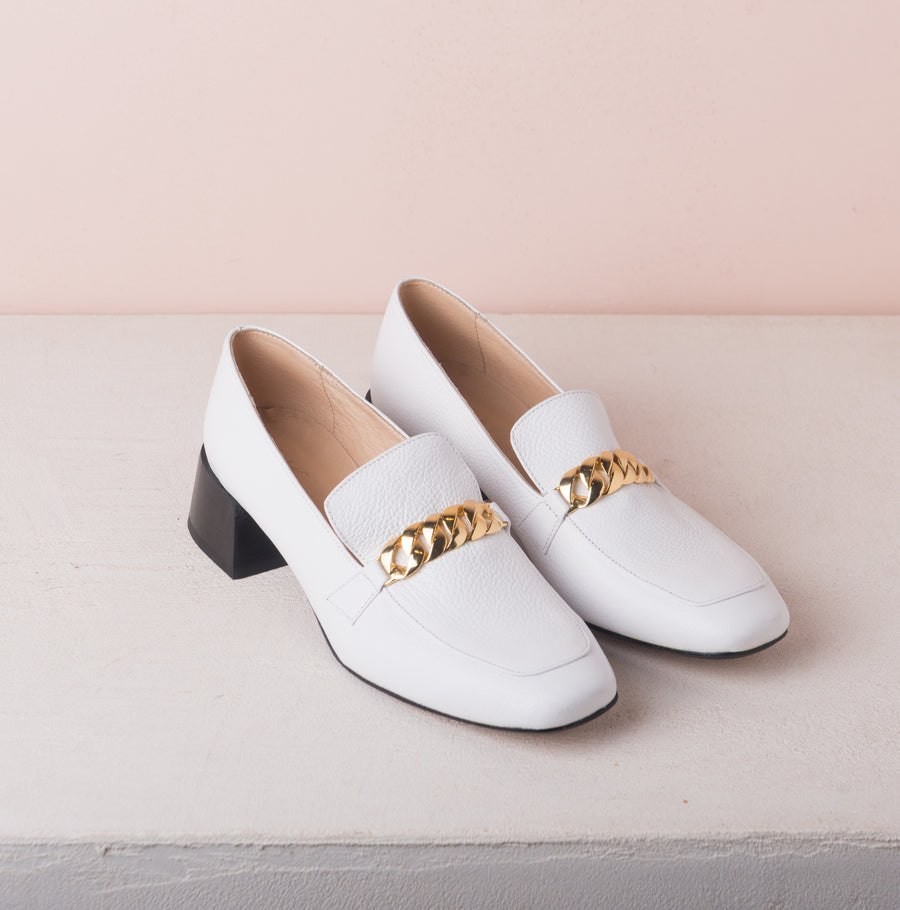 FRANCIS Gold chain loafers White