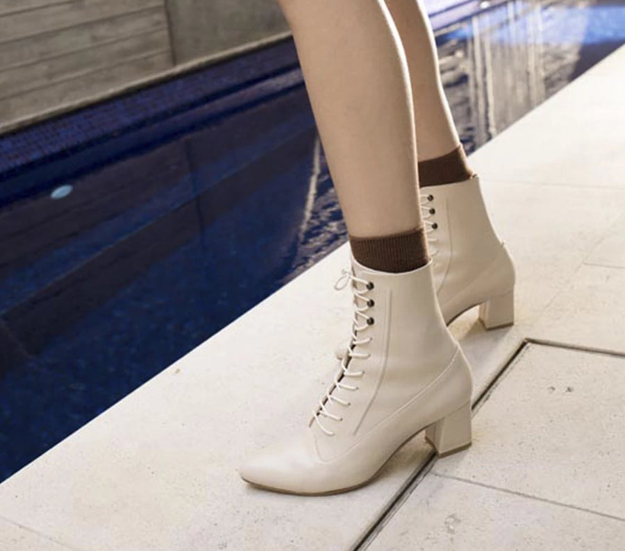 LORD lace up boots Cream – LAX