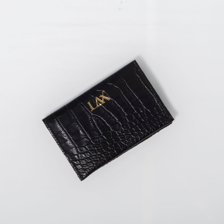 Wallet- Black Croc-embossed leather