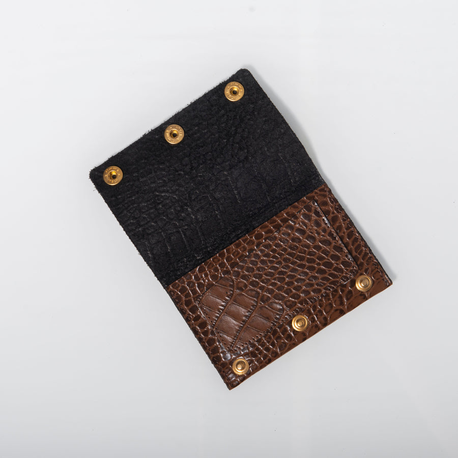 Wallet- Espresso Brown  Croc-embossed leather