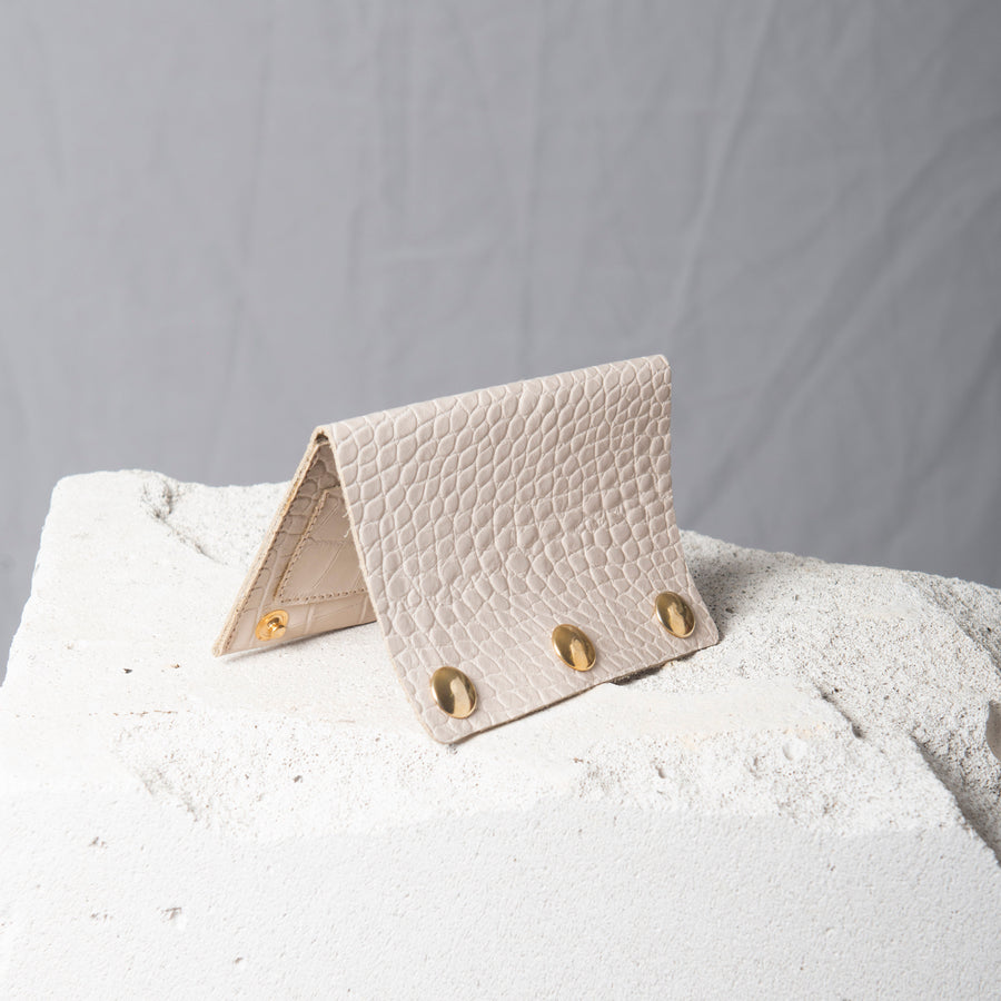 Wallet- Cream  Croc-embossed leather