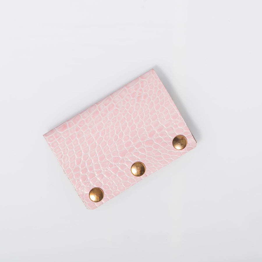 Wallet- Pink  Croc-embossed leather