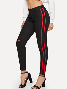 Stripe Side Slit Cut Knee Jeans