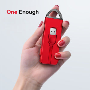 Folding Keychain 3 in 1 Charging Micro USB Cable iPhone Android