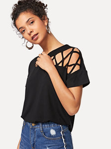 Cut Out Solid Tunic Tee