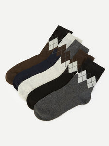 Men Diamond Pattern Socks 5pairs
