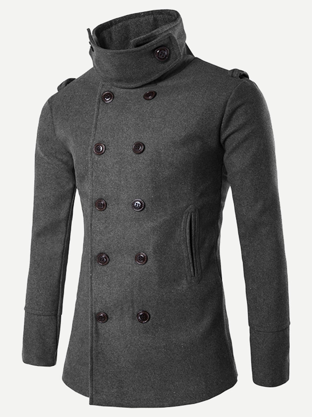 Men Double Breasted Solid Coat