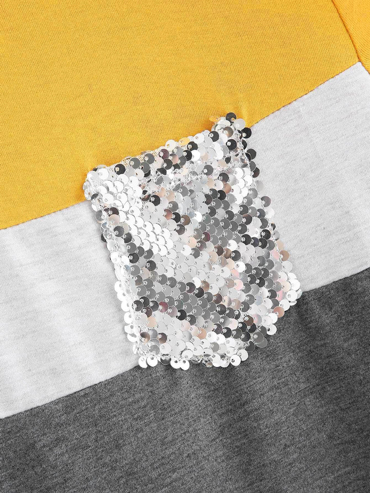Cut And Sew Sequin Pocket Tee