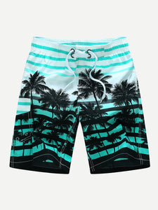 Men Striped And Tropical Print Beach Shorts