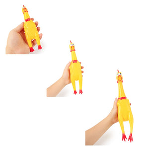 Novelty Yellow Rubber Chicken Pet Toy