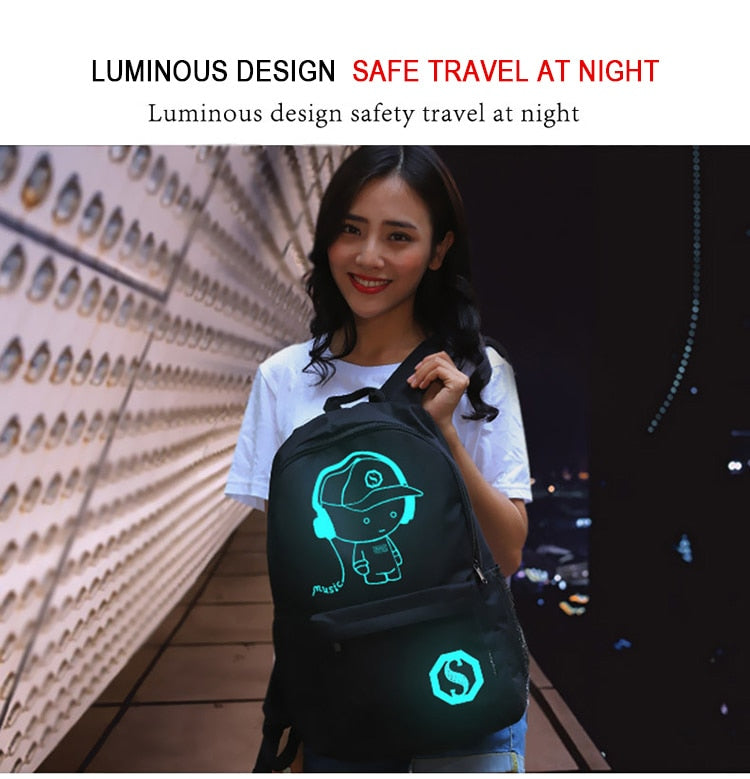 Luminous Anime USB Charger Backpack