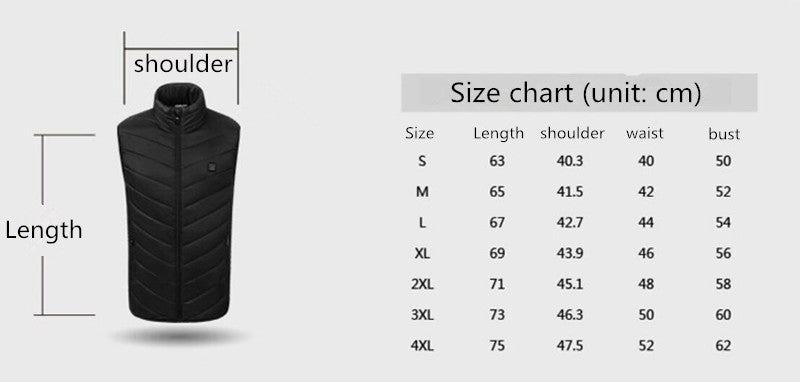 Men Women Electric Heated Vest Heating Waistcoat