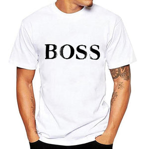 Boss letter men short sleeve t-shirt