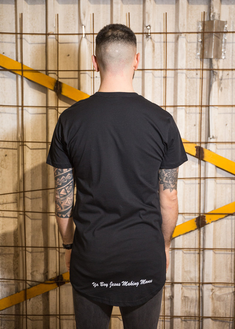 Urban T-Shirt Black - White signature on front and bottom rear