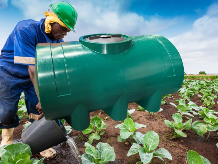 Worker watering the vegetable garden with a green Pioneer palstics horizontal tank in the foreground