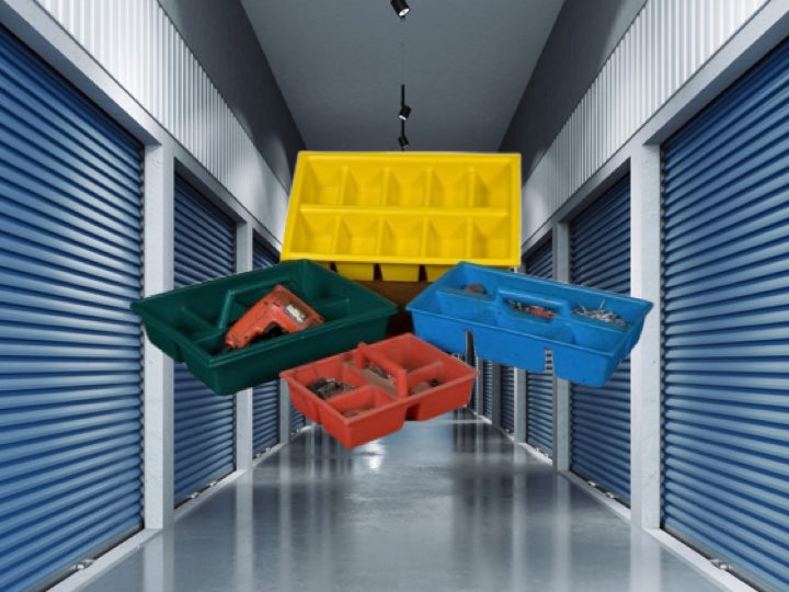 Storage units with multi colour Pioneer Plastics tool trays in the foreground
