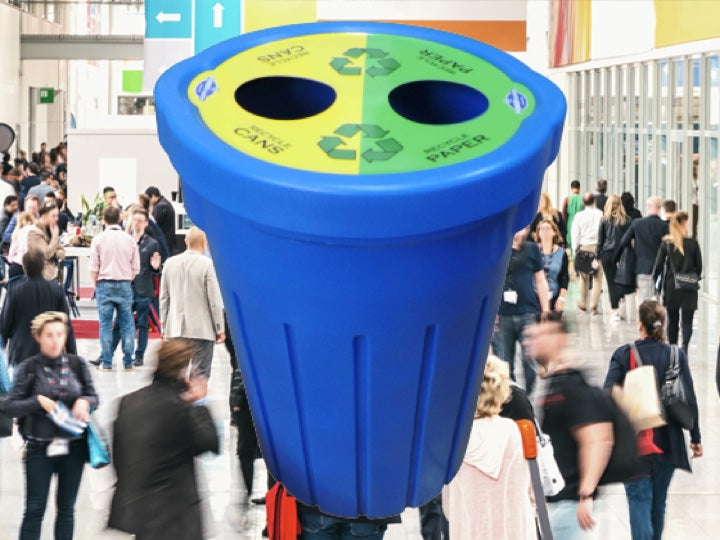 people commuting with a blue Pioneer plastics 85L recycle bin in the foreground