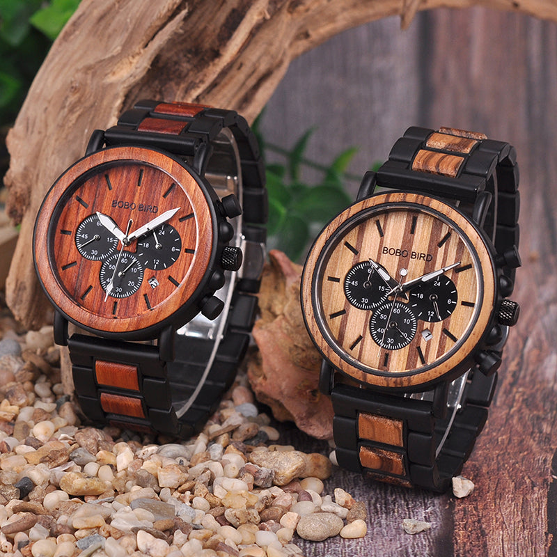 MAGNUM - Red Sandalwood and Alloy Men's Watch by BOBO BIRD