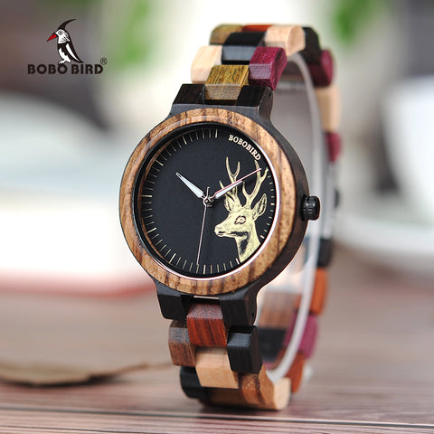 EDEN - Deer Dial Women's Watch with Multicolor Wooden Band by BOBO BIRD