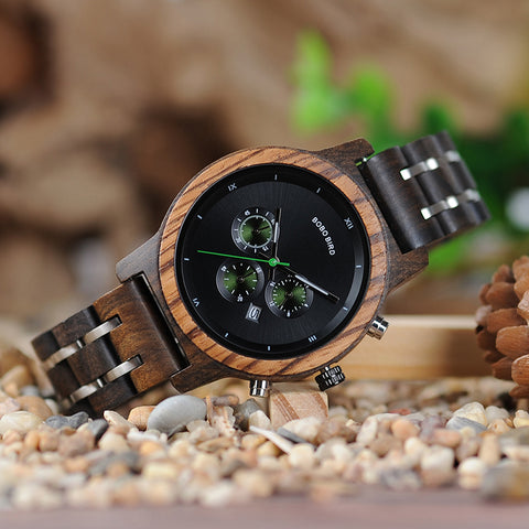 TIMEA - Luxury Black Dial Women's Watch with Wood and Stainless Steel Band by BOBO BIRD