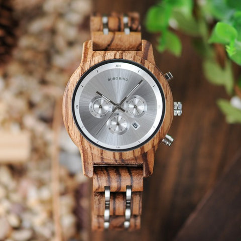 TETRA - Luxury Grey Dial Women's Watch with Wood and Stainless Steel Band by BOBO BIRD