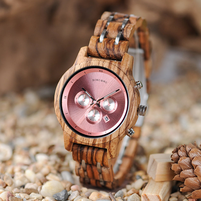 TIFFANY - Luxury Pink Dial Women's Watch with Wood and Stainless Steel Band by BOBO BIRD