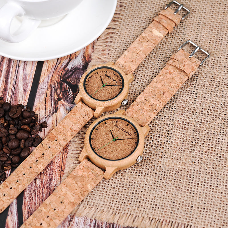 IMELDA - Wood and Cork Women's Watch by BOBO BIRD
