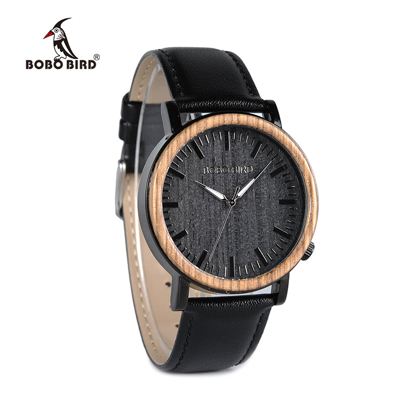 ORLANDO - Two-Tone Men's Watch with Black Leather Strap by BOBO BIRD