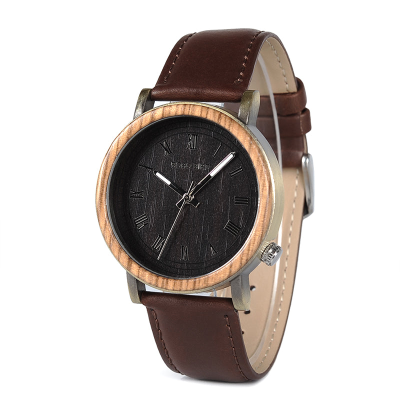 HELVETIA - Two-Tone Men's Watch with Brown Leather Strap by BOBO BIRD