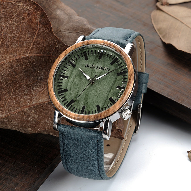 DAKOTA - Two-Tone Men's Watch with Blue Leather Strap by BOBO BIRD