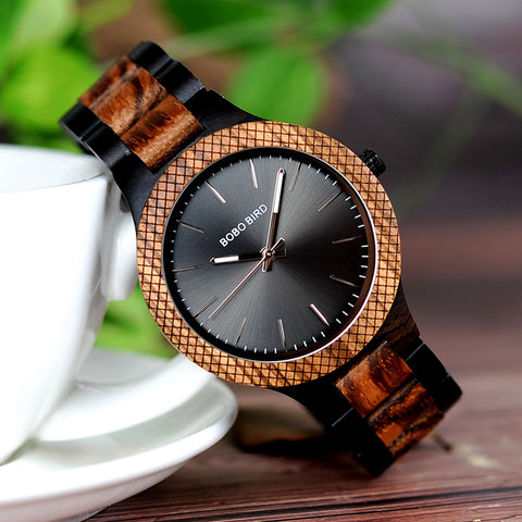 VORTEX - Luxury Zebra & Ebony Wooden Men's Watch with Luminous Hands by BOBO BIRD