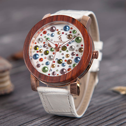 PRISULA - Luxury Ladies Watch with Multicolor Rhinestones Dial and White Leather Strap by BOBO BIRD