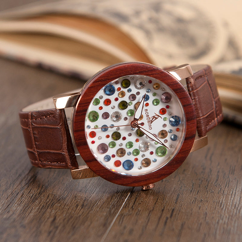 NIGELLA - Luxury Ladies Watch with Multicolor Rhinestones Dial and Brown Leather Strap by BOBO BIRD