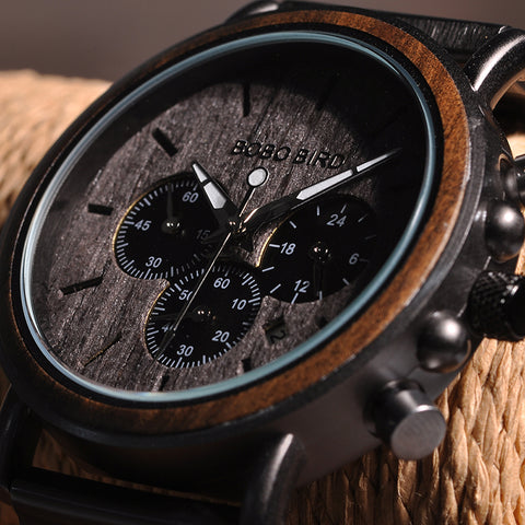 DUNHILL - Ebony Wood and Alloy Luxury Men's Watch by BOBO BIRD