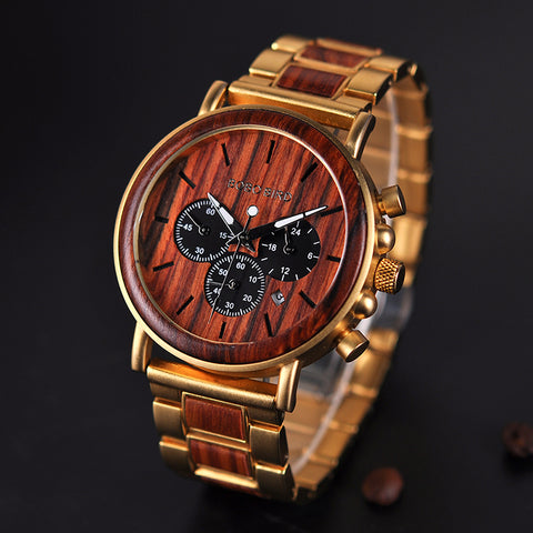 TWICKENHAM -Red Wood and Alloy Luxury Men's Watch by BOBO BIRD