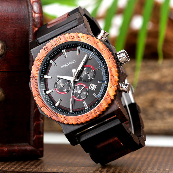 ALASKA - Big Size Men's Luxury Chronograph Wristwatch by BOBO BIRD