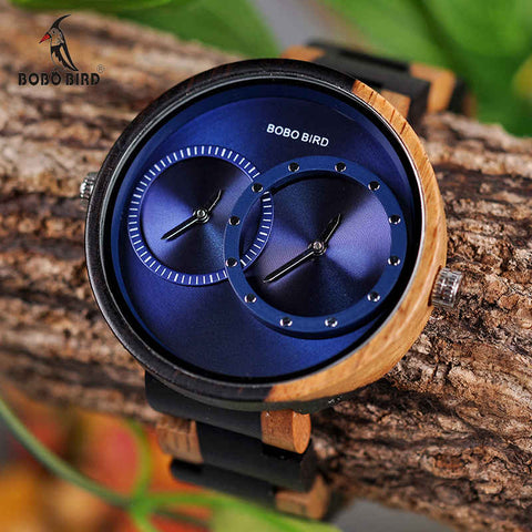 ALPHA (Blue) - Stylish Two Time Zone Unisex Wooden Quartz Watch by BOBO BIRD