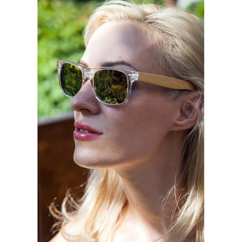 KLEARE - Unisex Transparent Oval Polarized Sunglasses With Bamboo Legs by BOBO BIRD