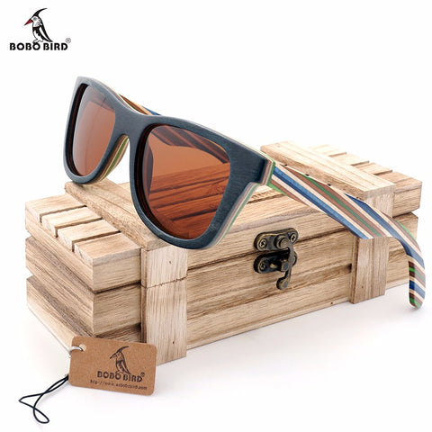 SKYLA - Unisex Skateboard Wooden Polarized Sunglasses by BOBO BIRD