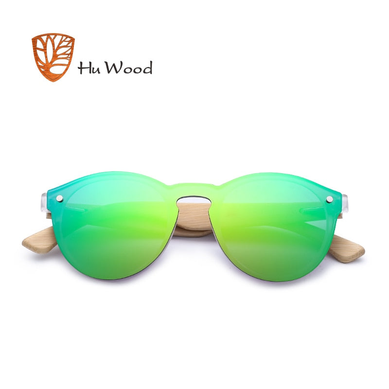 KENTO - Unisex Rimless Round Polarized Sunglasses with Bamboo Legs by HU WOOD