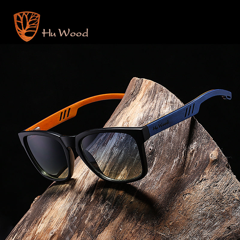 SKEDA - Unisex Square Polarized Sunglasses with Bamboo Legs by HU WOOD