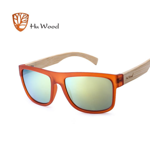 ARCADIA - Unisex Square Polarized Sunglasses with Bamboo Legs by HU WOOD