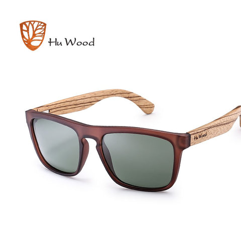 POLKA - Unisex Square Polarized Sunglasses with Bamboo Legs by HU WOOD