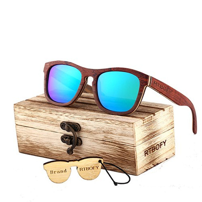 CHAYA - Unisex Skateboard Wooden Polarized Sunglasses in Wood Gift Box