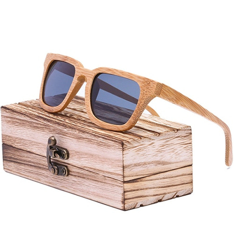 AVIVA - Vintage Square Unisex Bamboo Sunglasses in Wood Gift Box